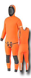 Trousers-jacket and orange rescue shell jacket
